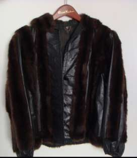 Leather & Russian Squirrel Ladies Jacket.