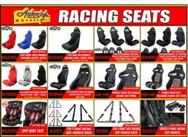Racing reclinable and fixed non reclining seats. Genuine Sparco and Om