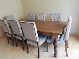 8 Tufted Natural and Damask Dining chairs