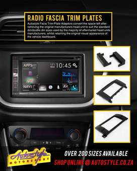 radio facia trim plates, for most vehicles, when installing single or