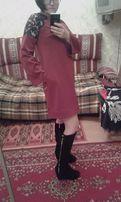 Платье. Цвет-марсала, А-силуэт, размер 38