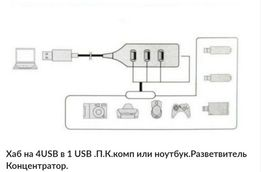 Хаб на 4USB в 1 USB .П.К.комп или ноутбук.Разветвитель Концентратор