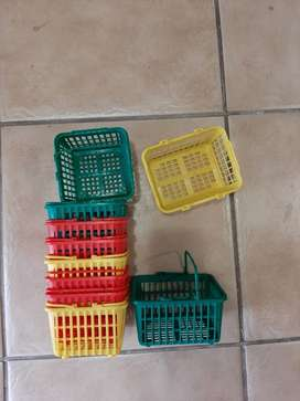 Plastic baskets for presents different colors