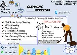 Home and Business Cleaning Services, Domestic help services
