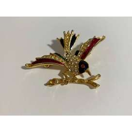 Vintage Jewelled Gold Bird Styled Brooch