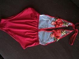 Strój kąpielowy body bordowy haft róże