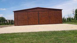 Garaz blaszany garaze blaszane 7x5 orzech drewnopodobny poziomy panel