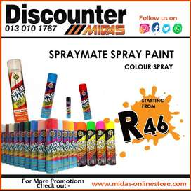 Spraymate Spray Paint starting from ONLY R46 at Discounter Midas!