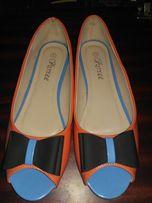 Женские туфли, балетки с открытым носком.