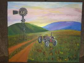 Painting of Windpump and tractor
