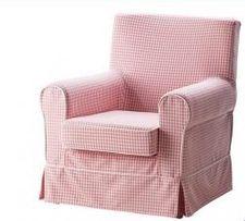 Fotel Ikea Ektorp różowy w krateczkę