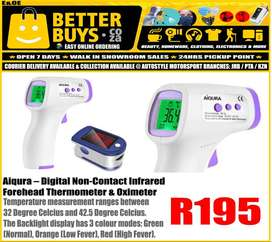 Aiqura – Digital Non-Contact Infrared Forehead Thermometer with Oximet