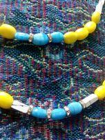 Намисто кераміка, поєднання синього і жовтого кольору