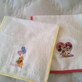 Embroidered towels and Burping bibs