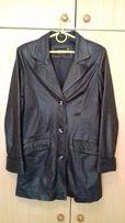 Срочно! куртка тренч пиджак женский черный кожаный в идеале размер 44