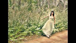 Conscious HM 42 L XL tiulowa suknia miętowa gorset Balmain studio zara