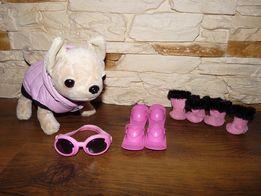 Simba Chi Chi Love Piesek Narciarz w Różowym Kombinezonie