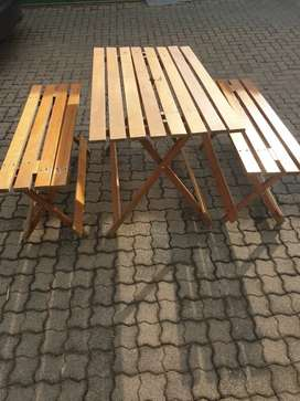 2nd Hand Folding wooden table and benches R750