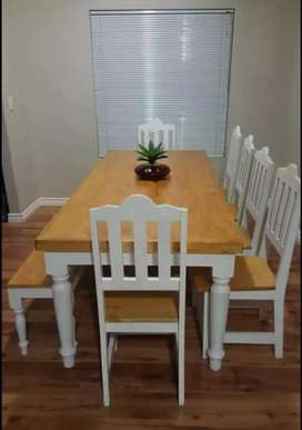 TURNED LEGS DINING TABLES AND BENCHES