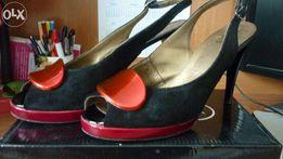 босоножки фабричные замшевые красно-черные