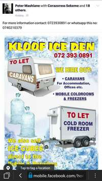 Image of Caravans, Mobile chillers and Ice cubes.