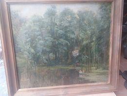 """Картина """"на рыбалке на лесной речушке"""""""