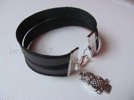 czarna bransoletka odblaskowa niczym opaska ;) charms sowa lub inny