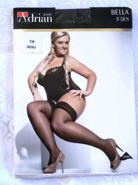 Plus Size 15D Sheer Lace Top Stockings Hold Ups   Adrian Bella XXXL