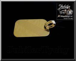 Złoty wisiorek duża blacha złoto Au 585 blaszka grawer Jubiler Tychy