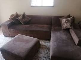 L Shape couch with ottoman