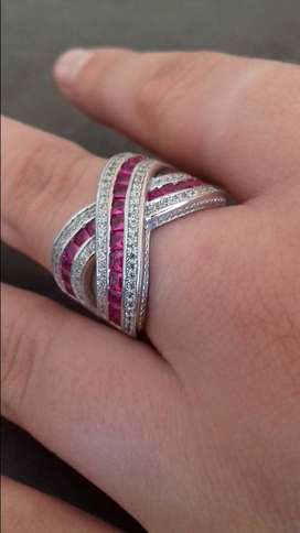 SOLID .925 STERLING SILVER CZ Pink Ruby&Cz Diamond Crossover Ring