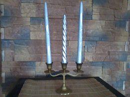 Świecznik mosiężny + srebrne świeczki