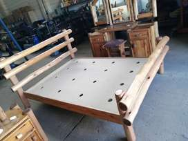Solid Log Double Bed and Bedroom Set