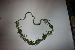 zielony naszyjnik szkło koraliki sznurek