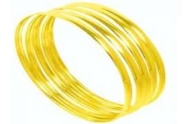 4 MM C SHAPED 9 CT GOLD BANGLES - STAMPED 5X