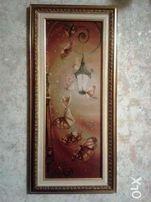 Вышитая картина нитками Фонарь, бабочки