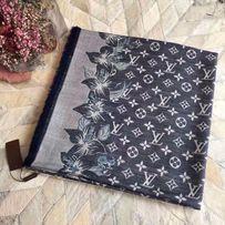 Niebieska kaszmirowa wełniana jedwabna chusta logo lv louis Vuitton