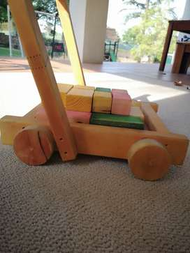 Wooden trolley and blocks