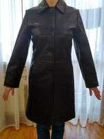 Пальто женское кожаное демисезонное
