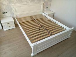 Кровать с прикроватными тумбочками. Двуспальная кровать 160х200. Белая