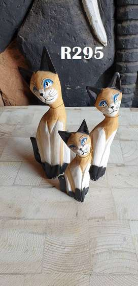 3 Wooden White Cats (240mm 205mm 165mm)