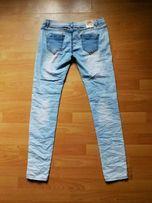 Nowe spodnie rurki XL Baby Blue marszczone acid wash
