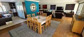 8 Seater Solid Beech Wood Dining Room Set