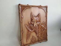 """Гравюра, Резная картина из дерева """"Лисица на охоте"""""""