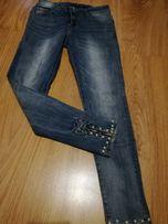 Okazja! Nowe spodnie jeans kokardy, perly, zamki r.S
