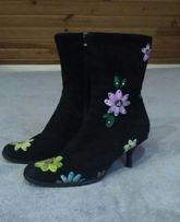 Красивые зимние сапожки/ботинки.Натуральные замшевые.
