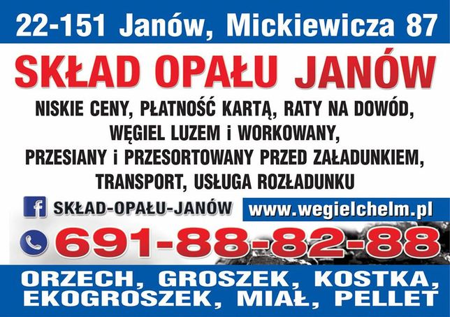 Węgiel Chełm Skład Opału Janów Transport Ekogroszek Pellet Raty Jakość Chełm - image 2