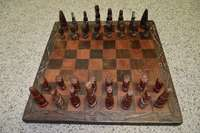 Image of Solid Wood Handcarved African Chess Set - Excellent Condition