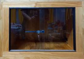 Wooden viarium with glass sliding doors for sale. (Includes lock)
