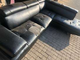 Black L-Shape Leather Couch